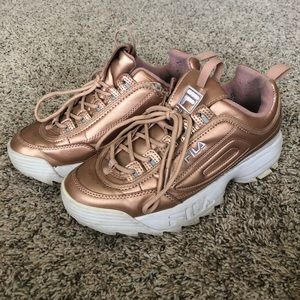 Fila rose gold athletic shoes metallic sneakers, 9